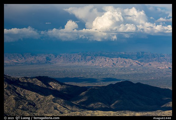 Desert mountains and afternoon clouds, Rincon Mountain District. Saguaro National Park (color)