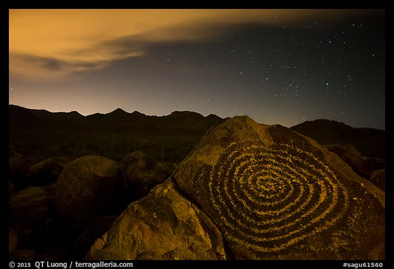 Petroglyphs on Signal Hill and Tucson Mountains at night. Saguaro National Park (color)