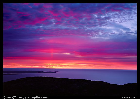 Clouds and Ocean from Mt Cadillac at sunrise. Acadia National Park (color)