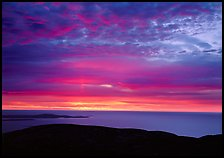 Clouds and Atlantic Ocean from Mt Cadillac at sunrise. Acadia National Park, Maine, USA.