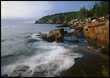 Surf and granite  coast near Otter Point, morning. Acadia National Park, Maine, USA.