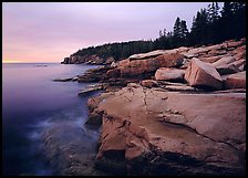 Coastline with granite slabs near Otter Point, sunrise. Acadia National Park, Maine, USA. (color)