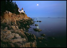Bass Harbor Lighthouse, moon and reflection. Acadia National Park, Maine, USA. (color)