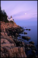 Bass Harbor lighthouse, sunset. Acadia National Park, Maine, USA. (color)