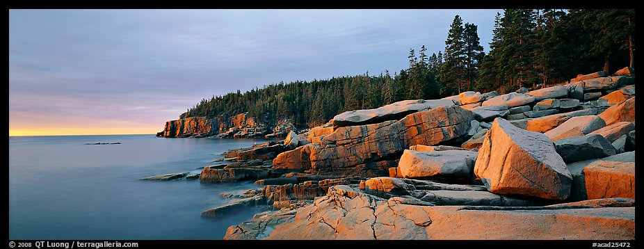 Rocky ocean coast at sunrise, Otter Point. Acadia National Park (color)