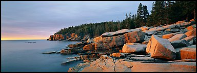 Rocky ocean shore at sunrise, Otter Point. Acadia National Park (Panoramic color)