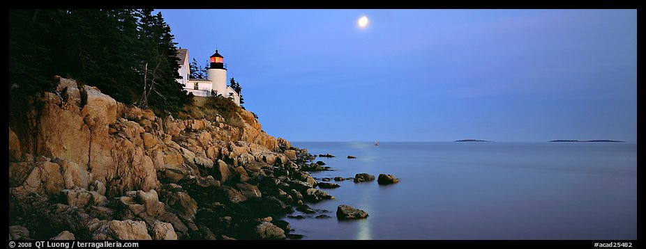 Dusk seascape with lightouse, moon, and reflection. Acadia National Park (color)