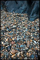 Pebbles and rock slabs. Acadia National Park, Maine, USA.