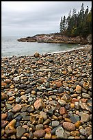 Pebbles and cove, Hunters beach. Acadia National Park, Maine, USA.