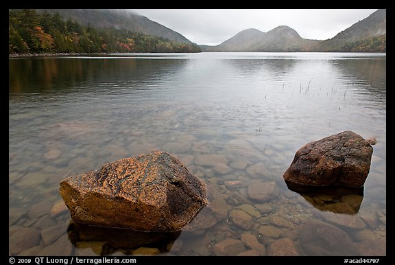Two boulders in Jordan Pond on foggy morning. Acadia National Park (color)