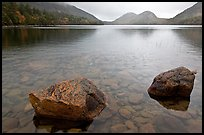 Two boulders in Jordan Pond on foggy morning. Acadia National Park, Maine, USA.