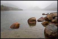 Jordan Pond on misty morning. Acadia National Park, Maine, USA.