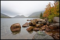 Boulders, autumn colors, and Bubbles, Jordan Pond. Acadia National Park, Maine, USA.