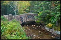 Carriage road bridge crossing stream. Acadia National Park, Maine, USA. (color)
