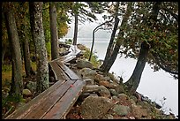 Boardwalk on shores of Jordan Pond. Acadia National Park, Maine, USA.