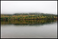 Hill reflected in Jordan Pond with top covered by fog. Acadia National Park ( color)