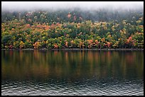Trees in fall colors reflected in Jordan Pond. Acadia National Park, Maine, USA.