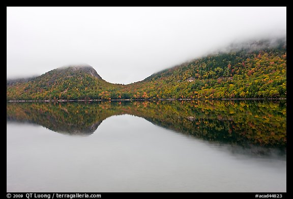 Hills, reflections, and fog in autumn, Jordan Pond. Acadia National Park (color)