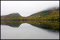 Hills, reflections, and fog in autumn, Jordan Pond. Acadia National Park ( color)