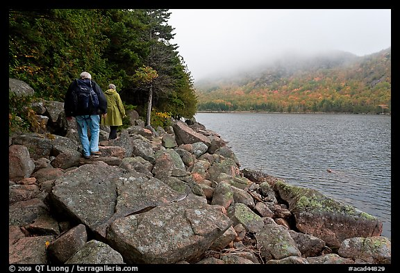 Hikers on shore of Jordan Pond. Acadia National Park (color)