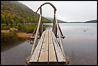 Footbridge, Jordan Pond. Acadia National Park, Maine, USA. (color)
