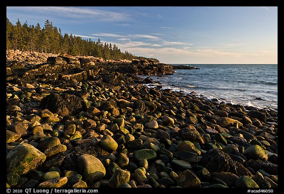 Coastline with boulders, late afternoon, Schoodic Peninsula. Acadia National Park (color)
