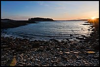 Cove and Pond Island, sunset, Schoodic Peninsula. Acadia National Park, Maine, USA. (color)