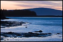 Pond and Cadillac Mountain at sunset, Schoodic Peninsula. Acadia National Park, Maine, USA. (color)