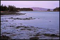 West Pond and snowy Cadillac Mountain, dawn, Schoodic Peninsula. Acadia National Park, Maine, USA.