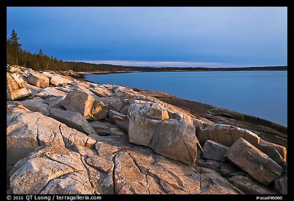 Granite slabs on coast, sunrise, Schoodic Peninsula. Acadia National Park (color)