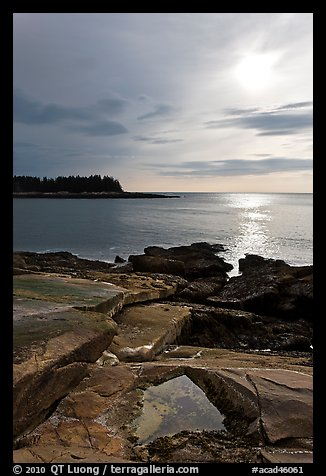 Rock slabs and sun over ocean, Schoodic Peninsula. Acadia National Park (color)