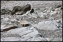 Slabs and pebbles on beach, Schoodic Peninsula. Acadia National Park ( color)