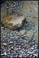 Pebbles in and out of water, Schoodic Peninsula. Acadia National Park, Maine, USA.