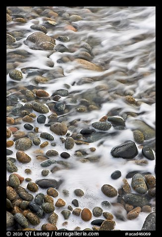 Close-up of pebbles in surf, Schoodic Peninsula. Acadia National Park, Maine, USA.