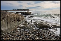 Seascape with pebbles, waves, and island, Schoodic Peninsula. Acadia National Park, Maine, USA. (color)
