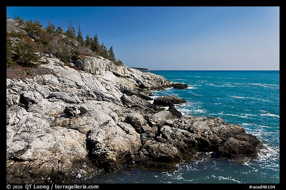 Rocky coast and blue waters, Isle Au Haut. Acadia National Park (color)