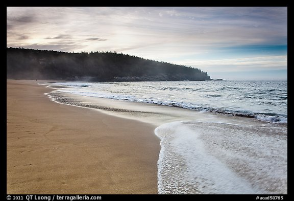 Deserted Sand Beach at dawn. Acadia National Park, Maine, USA.