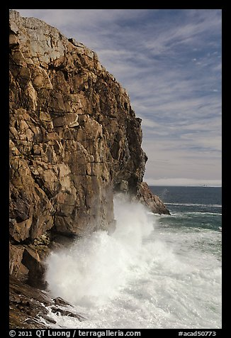 Surf crashing at base of Great Head. Acadia National Park, Maine, USA.