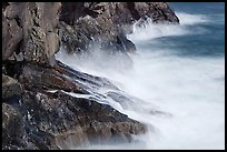 Fog-like water from long exposure at base of cliff. Acadia National Park ( color)