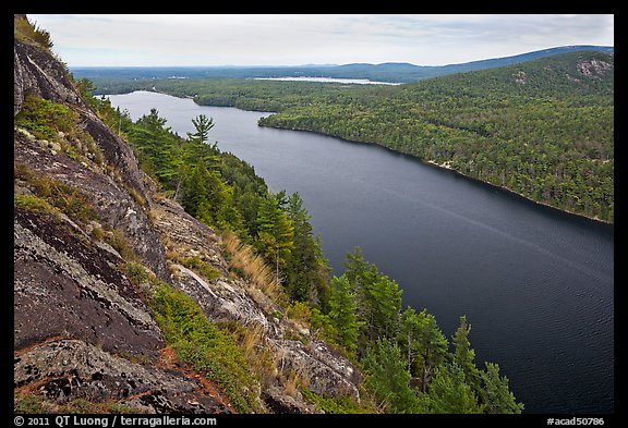 Echo Lake seen from Beech Cliff. Acadia National Park (color)