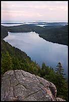 Jordan Pond and islands from Bubbles in summer. Acadia National Park, Maine, USA.