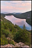Jordan Pond and islands from Bubbles at sunset. Acadia National Park ( color)