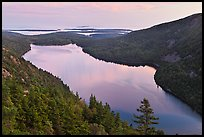 Jordan Pond from above, sunset. Acadia National Park, Maine, USA.
