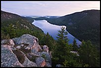 Forested hills and Jordan pond from above at dusk. Acadia National Park ( color)