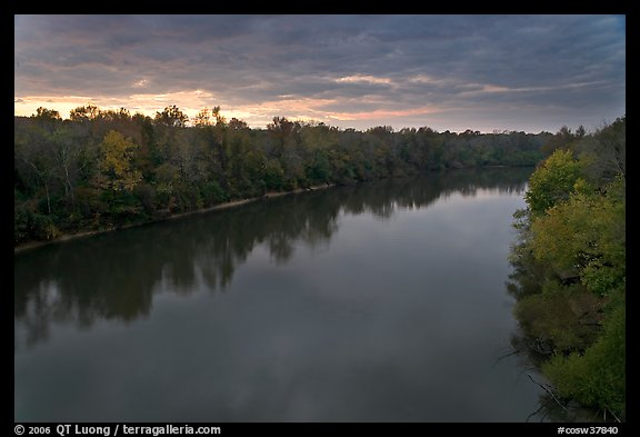Congaree River under storm clouds at sunset. Congaree National Park (color)