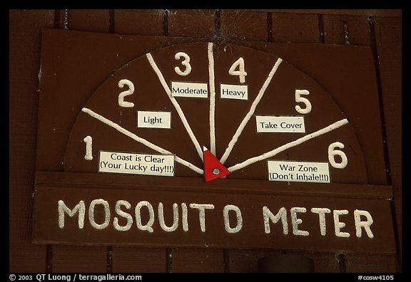 Mosquito Meter in old visitor center. Congaree National Park, South Carolina, USA.