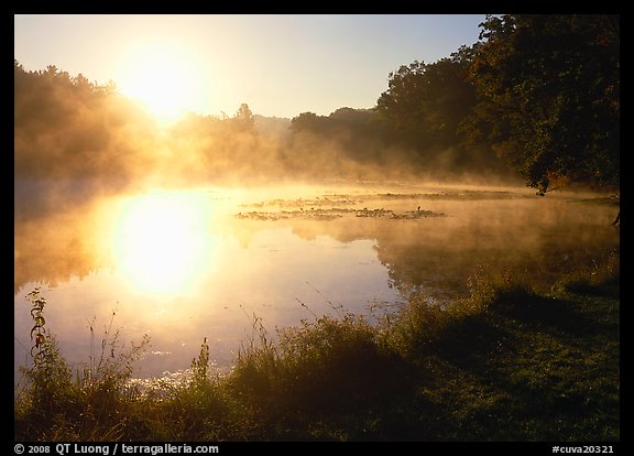 Sun shining through mist, Kendall Lake. Cuyahoga Valley National Park (color)
