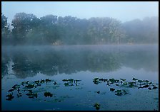 Mist on Kendall lake. Cuyahoga Valley National Park, Ohio, USA.