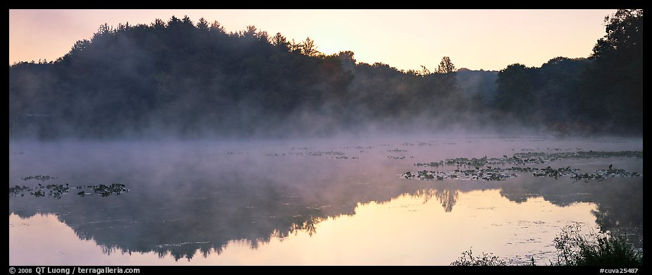 Fog rising of lake at dawn. Cuyahoga Valley National Park (color)