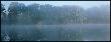 Trees reflected in foggy pond. Cuyahoga Valley National Park (Panoramic color)